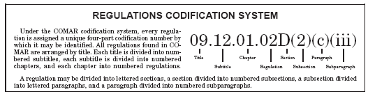 Under the COMAR codifcation system, every regulation is assigned a unique four-part codification number for identification.