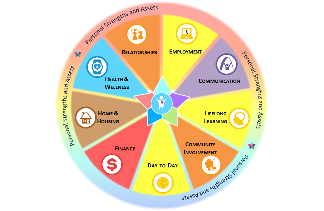 Graphic of wheel with various categories that can be used to evaluate personal strengths and assets