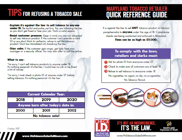 Tobacco Retailer Quick Reference Guide