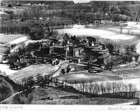 Aerial View of the Main and Foster-Wade Buildings, 1927