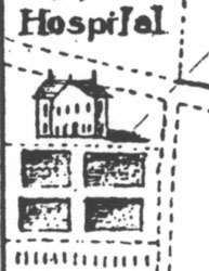 Drawing of the original hospital, from an 1801 map of Baltimore