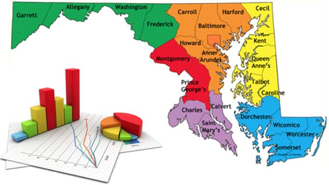 state of maryland colorcoded by region divided by county